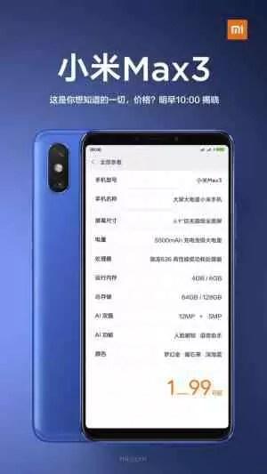Xiaomi Mi Max 3 teaser oficial