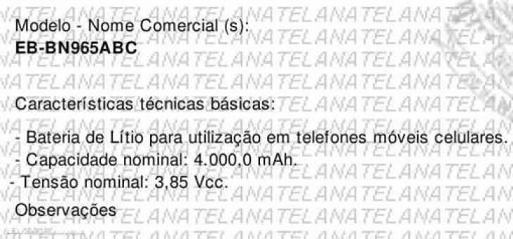 Anatel confirma Bateria de 4.000 mAh no Galaxy Note9 1