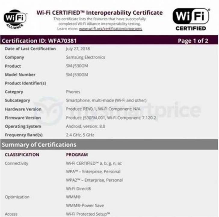 Variantes Galaxy J5 (2017) receberão Android Oreo, segundo certificação WiFi 1