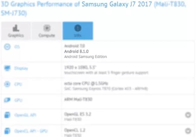 Galaxy J7 (2017) No GeekBench com Android 8.1 Oreo 1