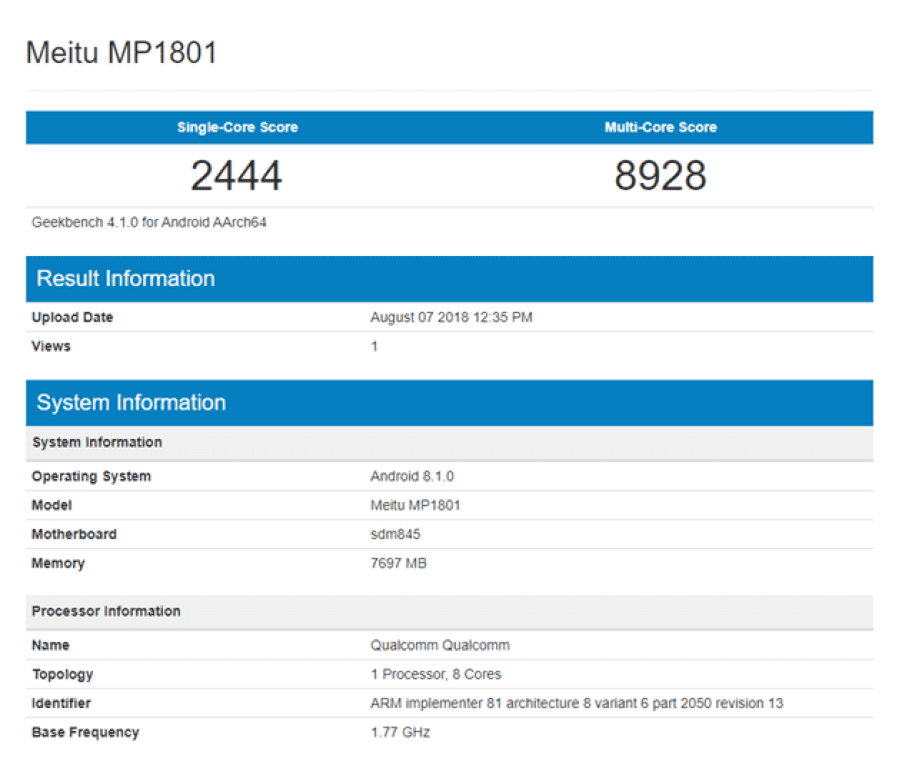 Meitu MP1801 Geekbench