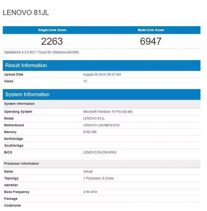 Dispositivo misterioso da Lenovo com o Snapdragon 850 regista resultados promissores de benchmark 1