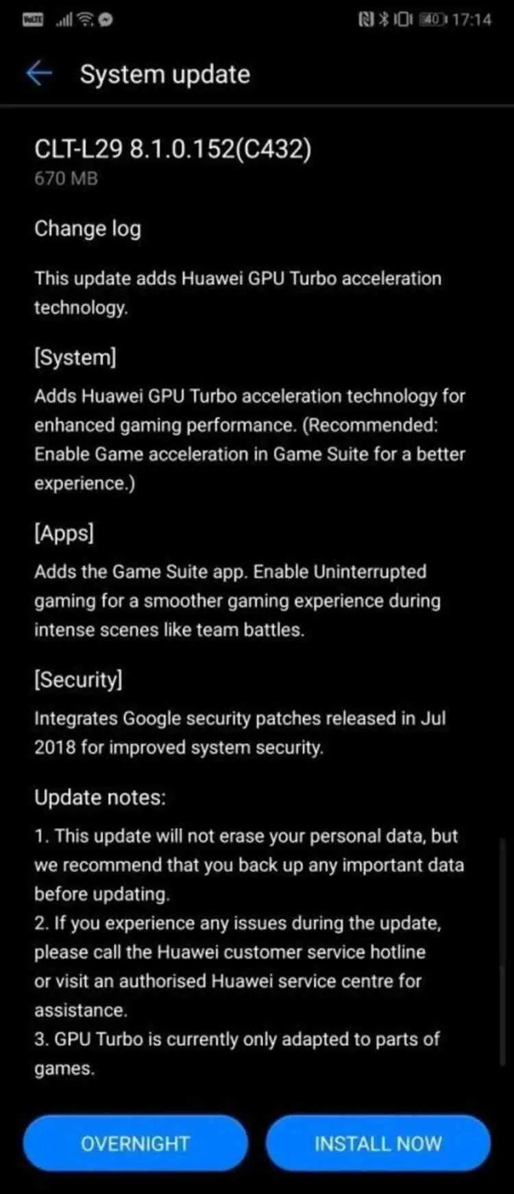 Huawei P20 Pro Update