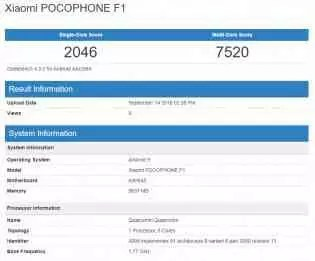 Pocophone F1 no GeekBench rodando o Android 9 Pie