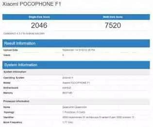 Pocophone F1 no GeekBench rodando o Android 9 Pie