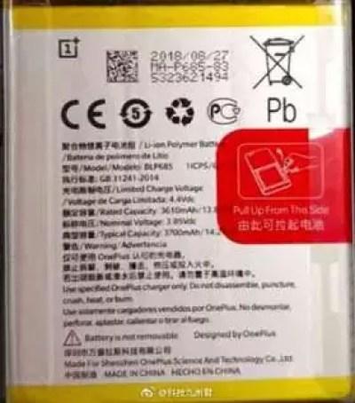 Capacidade da bateria OnePlus 6T revelada 1