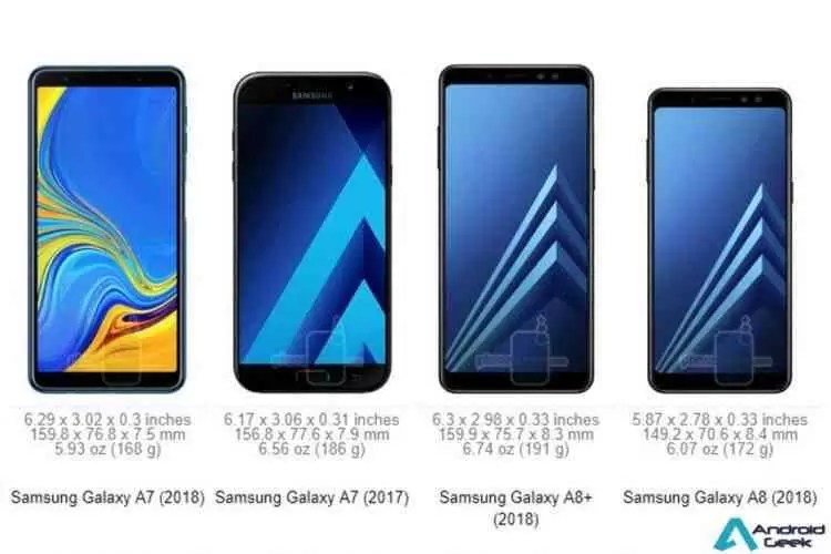 Galaxy A7 2018 vs A7 2017 vs A8 + especificações e comparação de tamanho 1