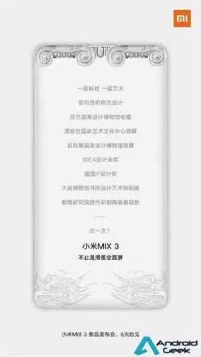Fotos do Mi Mix 3 mostram o leitor de impressão digital traseiro e duas câmaras frontais 3