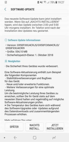 Atualização de segurança Galaxy S8 outubro de 2018