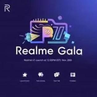 Realme Gala em 28 de novembro