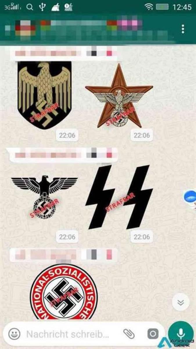 Controvérsia na Alemanha com o aparecimento de um pacote de adesivos Nazis no WhatsApp 1