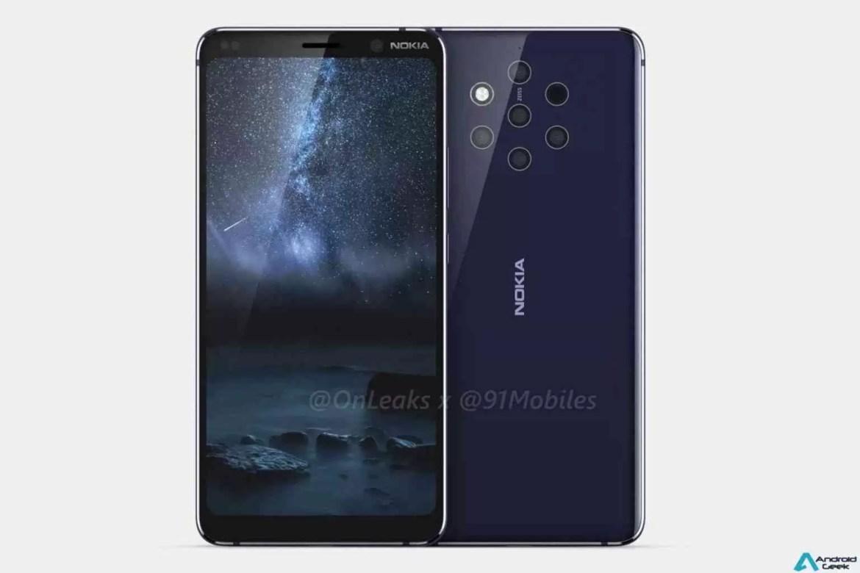 Leak Nokia: Parte superior frontal do Nokia 9 mostrada nas primeiras fotos ao vivo do telefone com câmara penta-lens 3