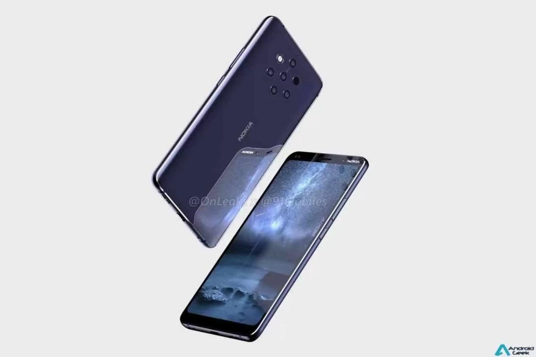Leak Nokia: Parte superior frontal do Nokia 9 mostrada nas primeiras fotos ao vivo do telefone com câmara penta-lens 4