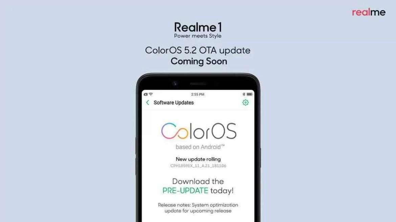 Atualização do Realme 1 ColorOS 5.2