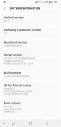 Informações de atualização do Samsung Galaxy S8
