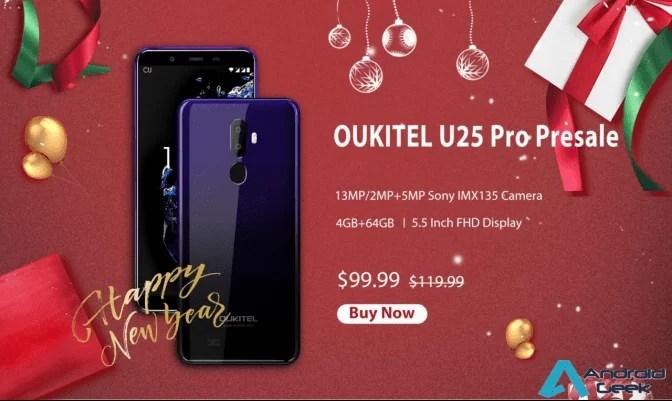 OUKITEL U25 Pro em venda Flash de ano novo custa apenas US $ 99,99 no cor Twilight 1