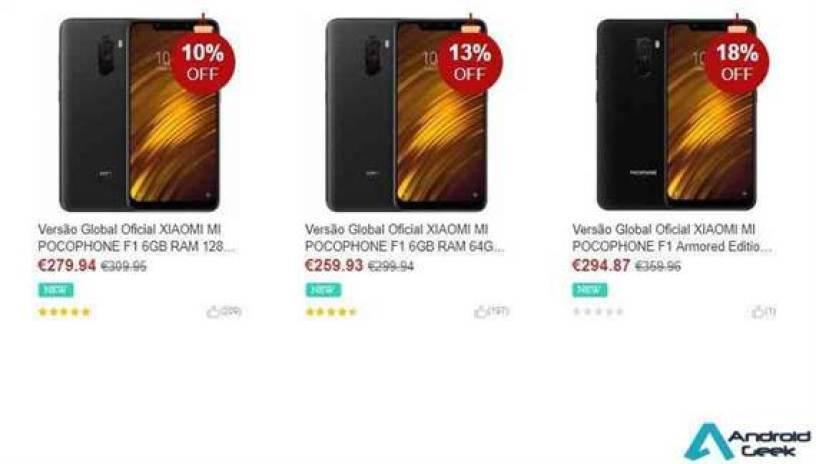 Xiaomi PocoPhone F1 o melhor preço já visto €259.93 €299.94 2