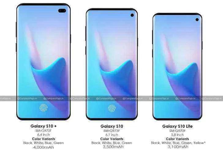 Samsung Galaxy S10 detalhes do ecrã e informações da bateria 1