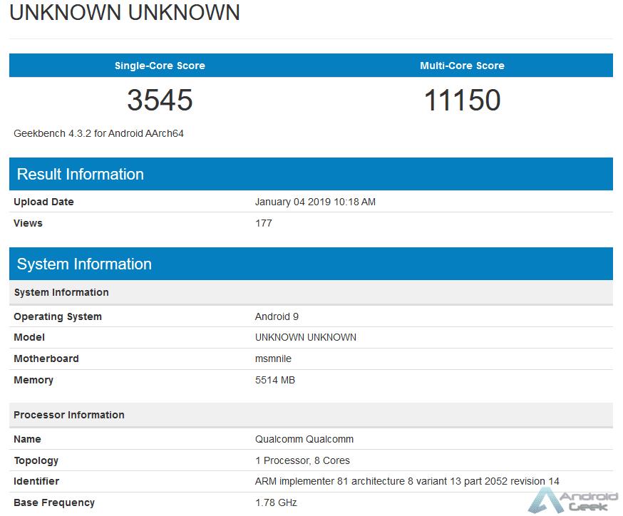 Snapdragon 855 Mobile Platform é visto em outro teste de benchmark 1