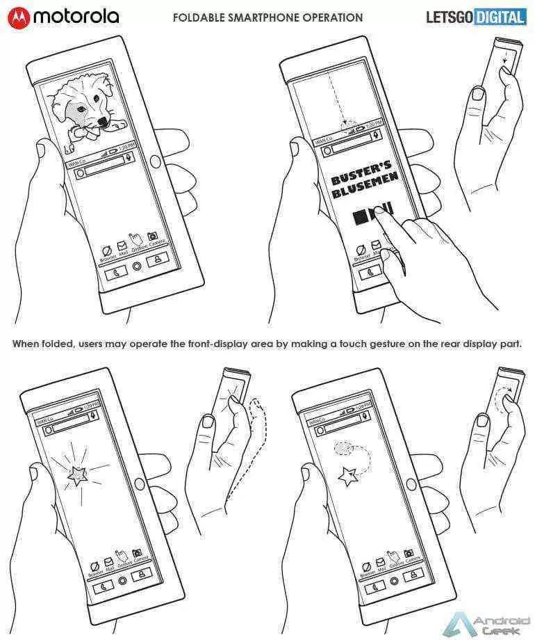 Smartphone dobrável da Motorola aparece em patente 5
