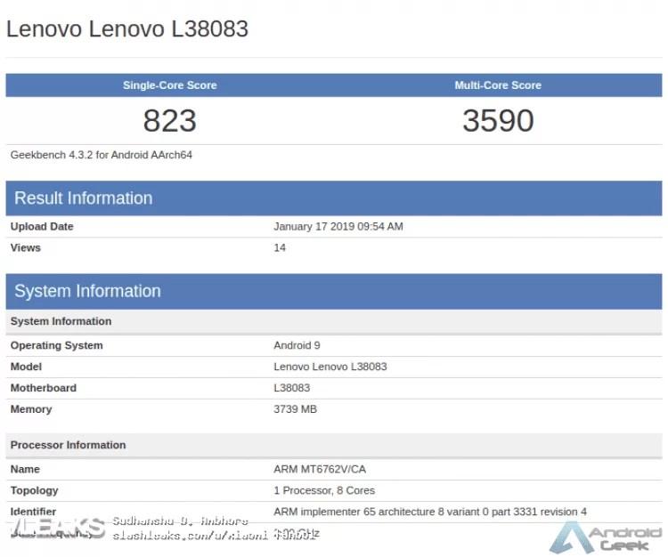 Dispositivo Lenovo com Helio P22 localizado no Geekbench 2
