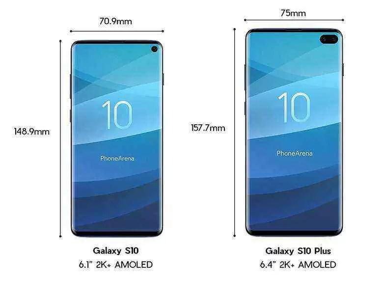 Samsung Galaxy S10 plus dimensões