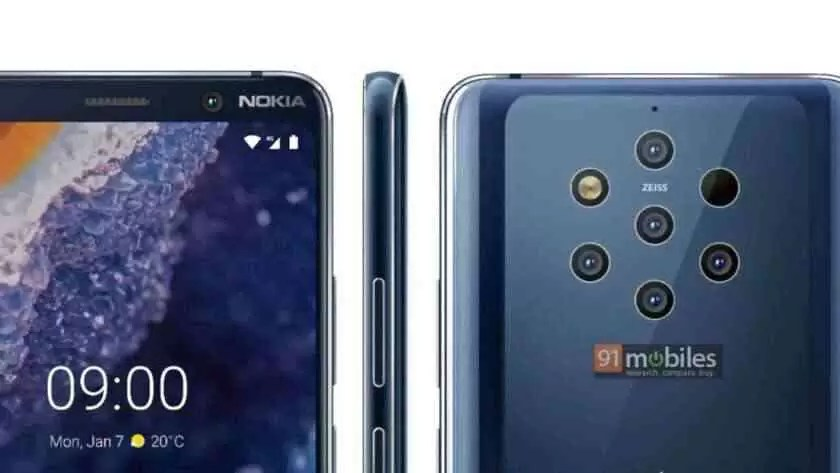 Pressione as renderizações do Nokia 9 PureView.