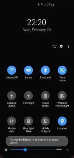 PowerShare sem fio do Galaxy S10