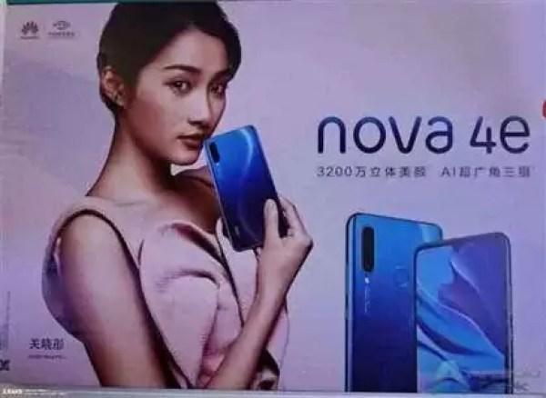 Huawei Nova 4e com câmara frontal de 32MP endossada por Guan Xiaoyu 1