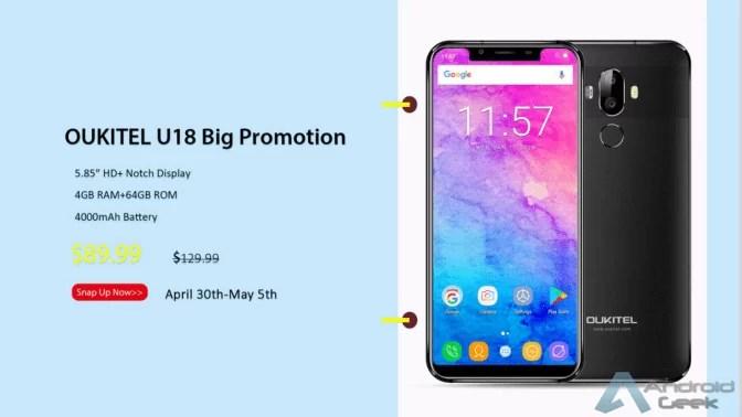 OUKITEL U18 Flash Sale a apenas US $ 89,99, 4GB de RAM e 4000mAh de bateria 2