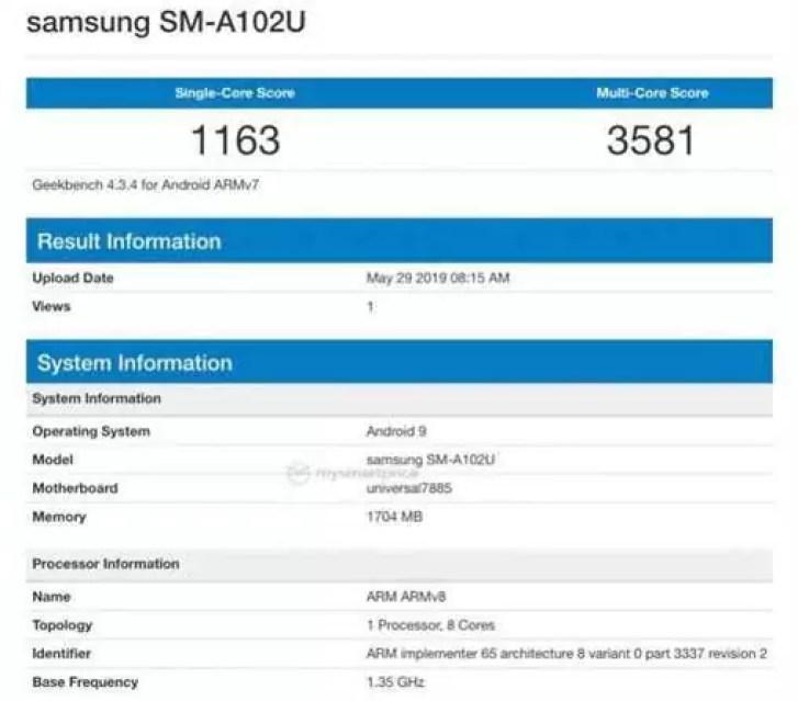 Samsung Galaxy A10e passa no Geekbench com chipset Exynos, 2 GB de RAM 1