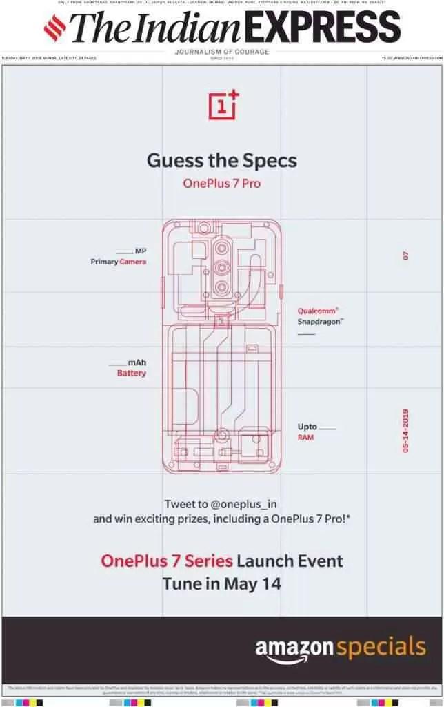 Anúncio do OnePlus 7 Pro quer que os utilizadores adivinhem as especificações e ganhem o smartphone 1