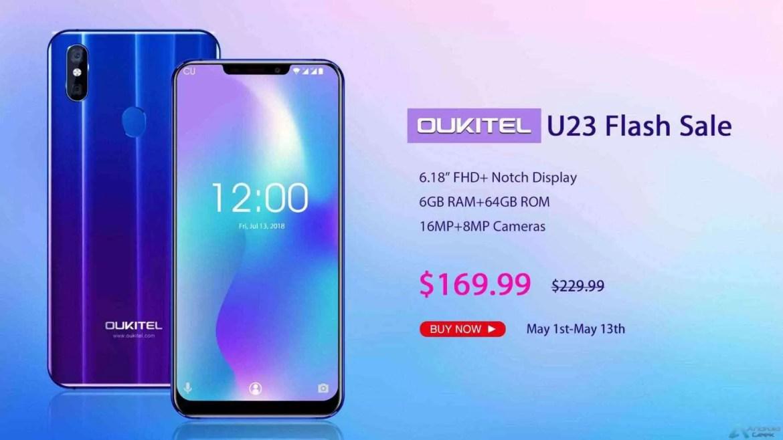 Podem ter um OUKITEL U23 a um preço incrível na DealExtreme, $169.99 por 6 polegadas 6GB RAM e mais 1