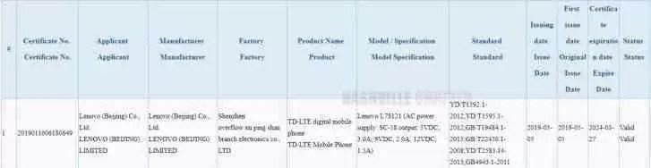 Possível certificação Lenovo Z6 confirma carregamento rápido de 18W 2