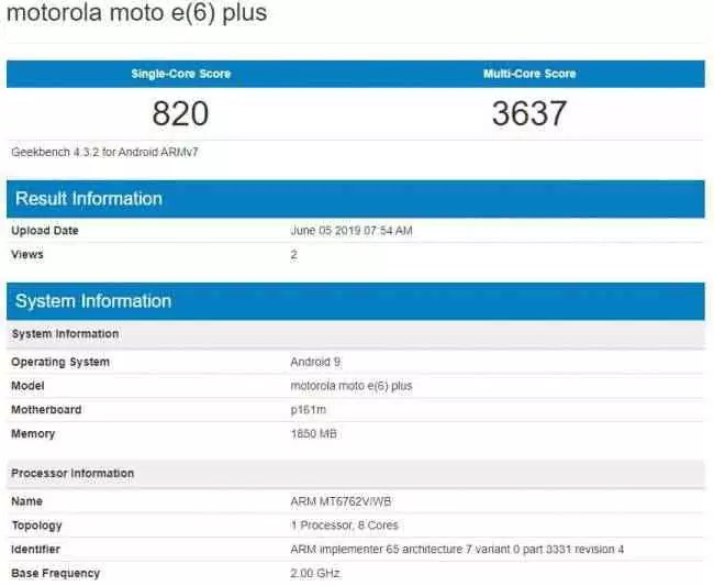 Motorola Moto E6 Plus revela chipset Helio P22 no Geekbench 1