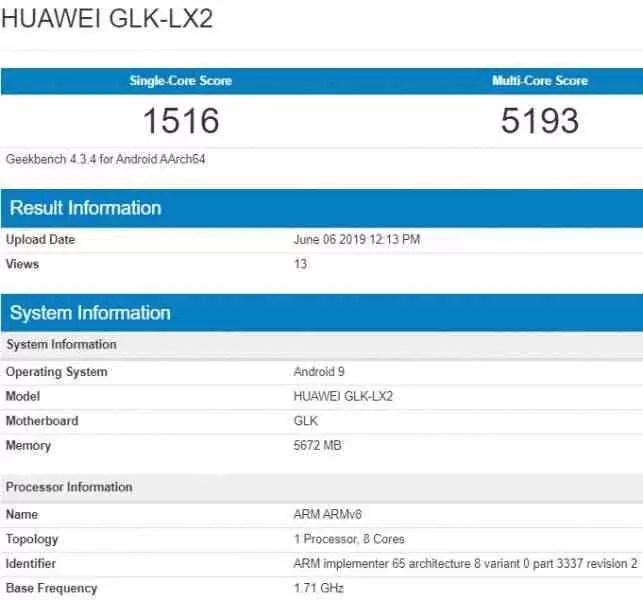 Huawei nova 5i passa pelo Geekbench com 6 GB de RAM 1