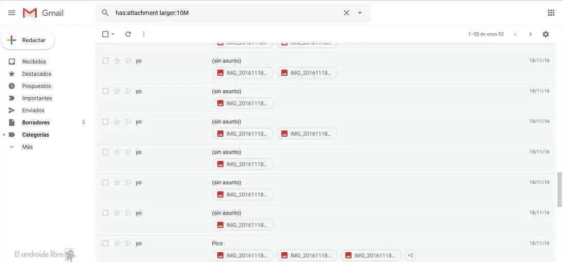 Emails do Gmail por peso