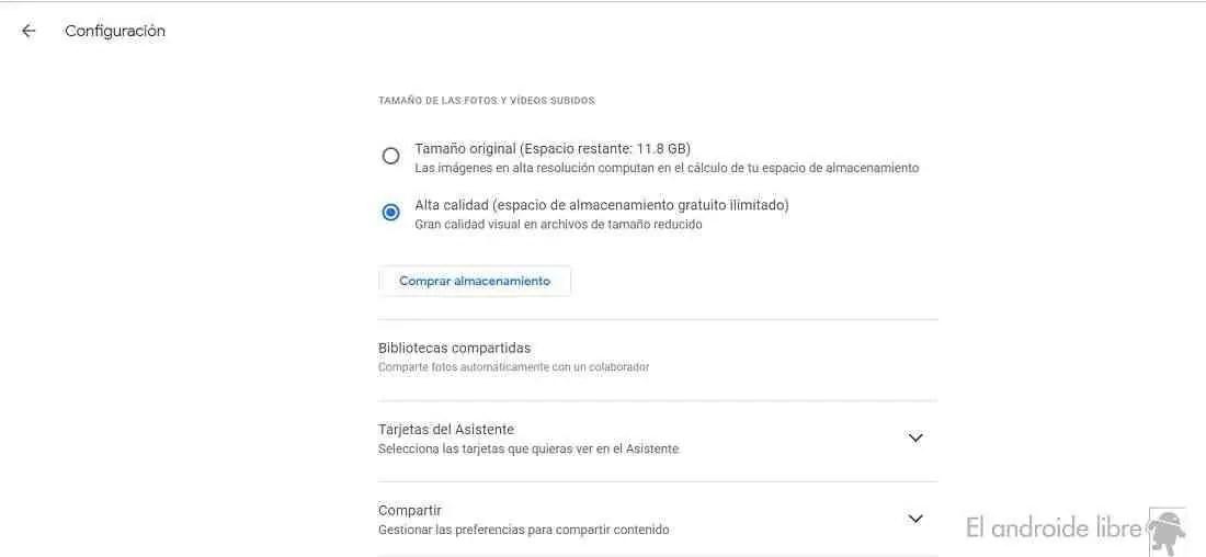 Configurações do Google Fotos