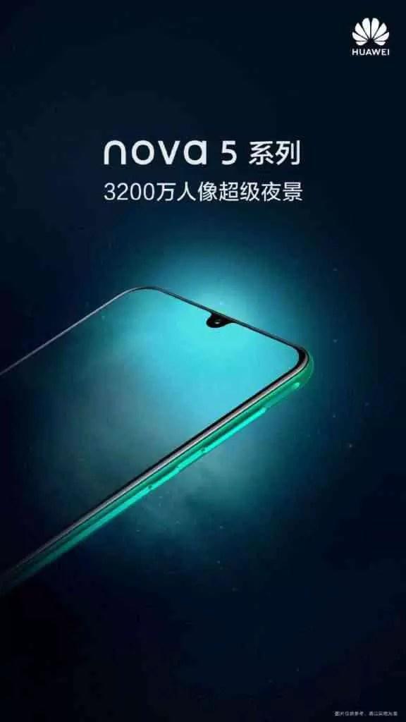 câmara selfie 32MP Huawei Nova série 5