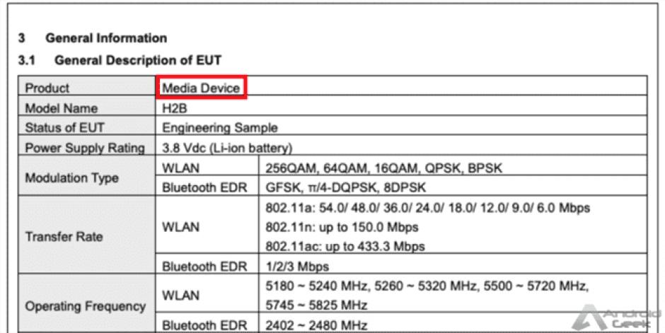 Dispositivo desconhecido do Google recebe a certificação da FCC 3