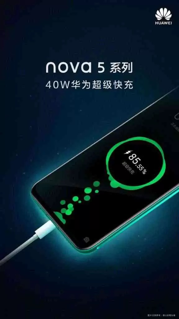 Série Huawei Nova 5 confirmada para lançamento com carregamento super rápido de 40W 1