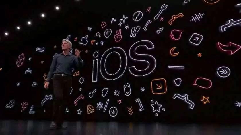 Exibição do ecrã do Apple WWDC 2019 iOS.