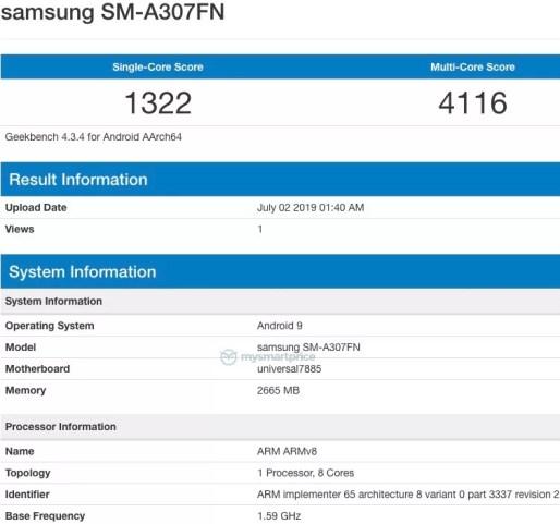 Suposto Samsung Galaxy A30s (SM-A307FN) revela especificações, no Geekbench 1