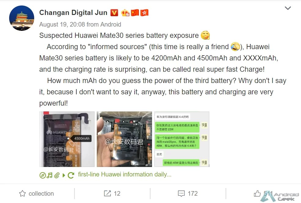 Huawei Mate 30 pode chegar com bateria de 4500mAh e carregamento sem fio de 30w 3