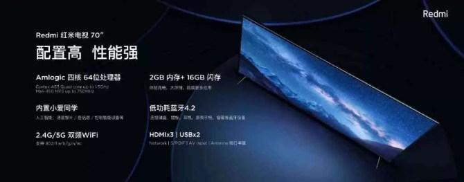 Redmi TV com ecrã HDR 4K de 70 polegadas, 2 GB de RAM lançada por € 480 2
