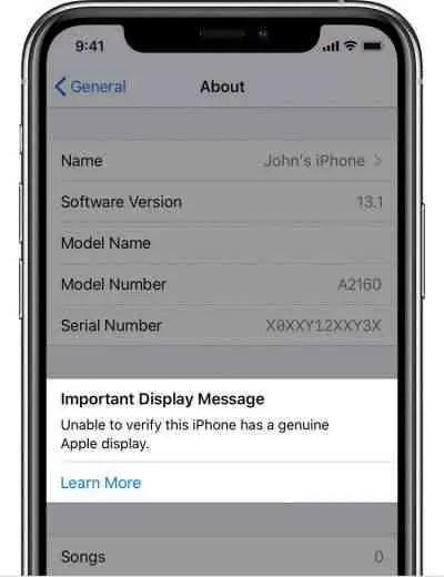 O iOS 13.1 informa que a tela substituída não é genuína