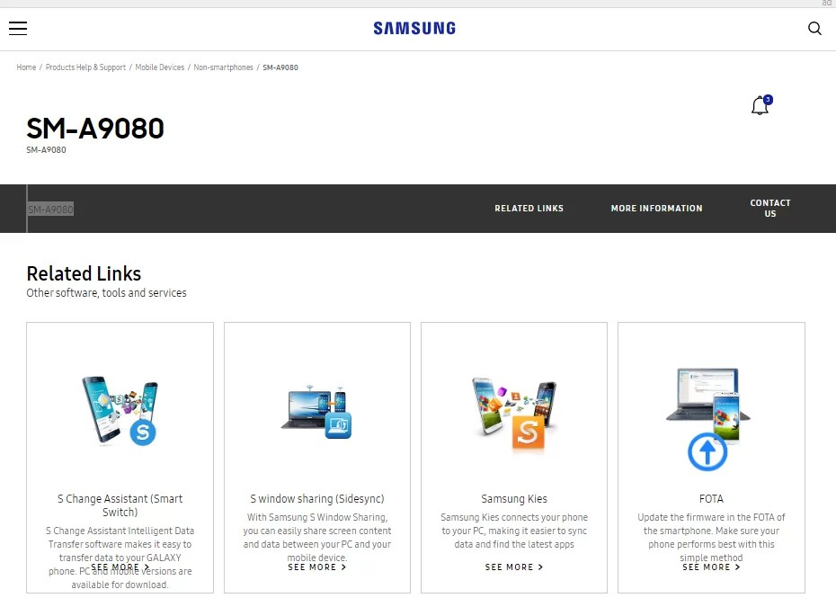 Página de suporte para Galaxy A90 5G