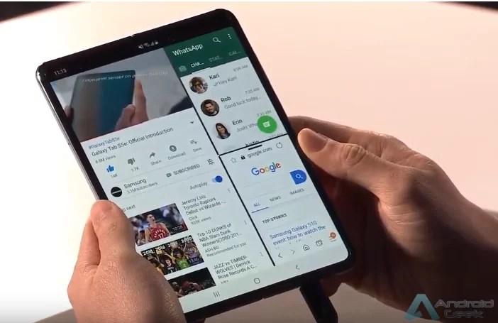Multitarefa com três aplicativos do Samsung Galaxy Fold