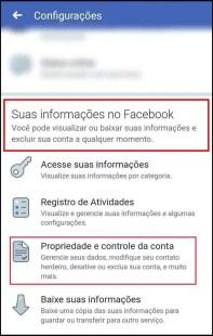 Suas informações no Facebook