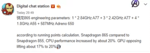 Parâmetros do Snapdragon 865